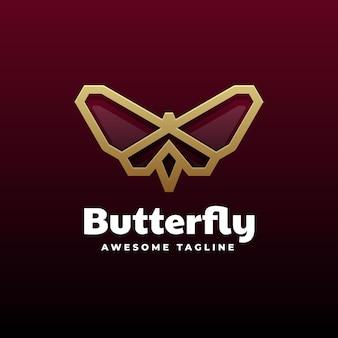 Logo papillon dégradé ligne art style