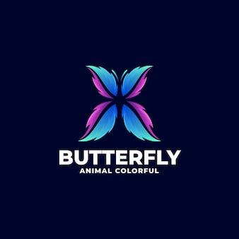 Logo papillon dégradé style coloré