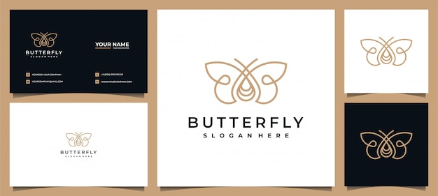 Logo papillon élégant avec carte de visite
