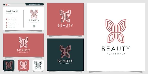 Logo papillon avec style de dessin au trait et conception de carte de visite vecteur premium
