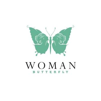 Logo papillon avec visage de femme