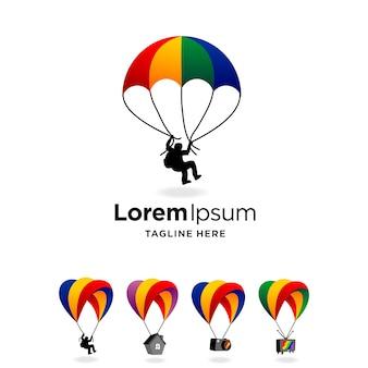 Logo de parachute avec concept multiple