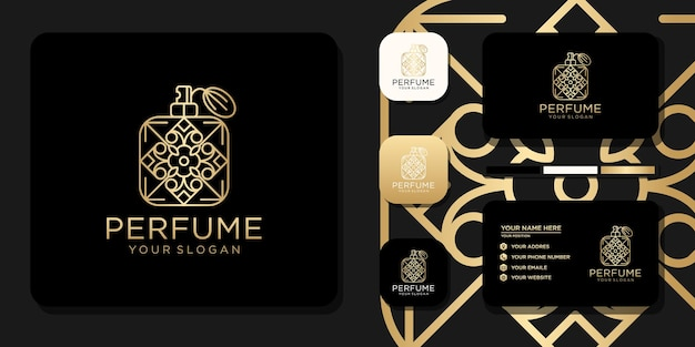 Logo de parfum de luxe avec conception de bouteille et référence de modèle de carte de visite
