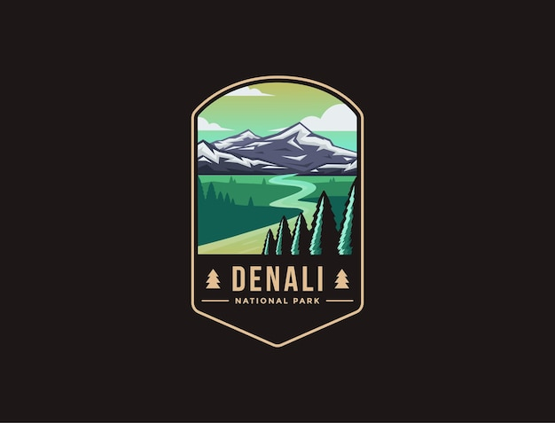 Logo patch emblème du parc national de denali