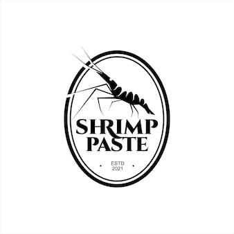 Logo de pâte de crevettes assaisonnement de cuisine asiatique traditionnelle ingrédient saveur de fruits de mer pour étiquette culinaire