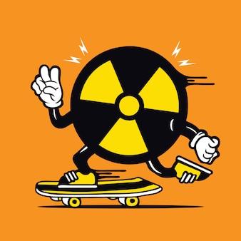 Logo de patineur biohazard logo design de personnage de planche à roulettes