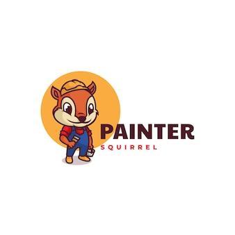 Logo Peintre écureuil Mascotte Style Dessin Animé Vecteur Premium