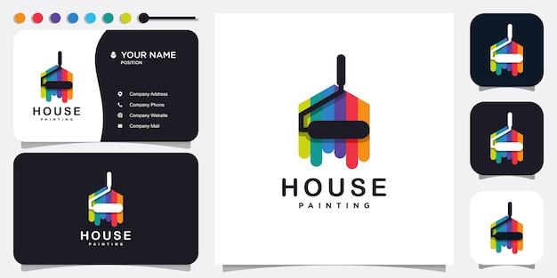Logo de peinture avec le concept de maison moderne vecteur premium