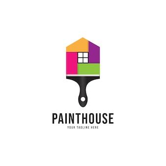 Logo de peinture à la maison, identité de décoration à la maison