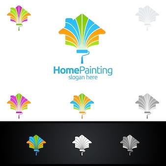 Logo de peinture à la maison avec pinceau et concept de maison
