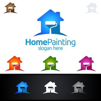 Logo de peinture de maison avec pinceau et concept de maison