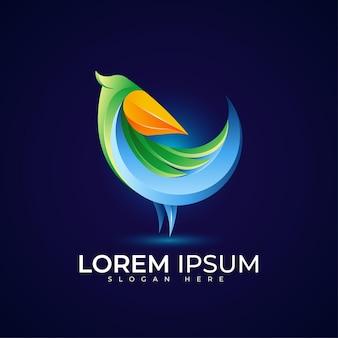 Logo pelican avec dégradé de couleur