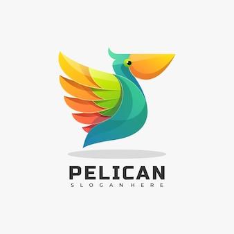Logo pélican dégradé style coloré