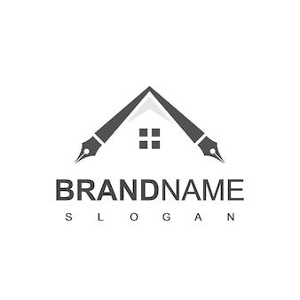 Logo pen house, journaliste, cabinet d'avocats et symbole de l'entreprise d'architecture