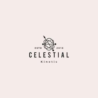 Logo pendule cinétique orbital céleste hipster