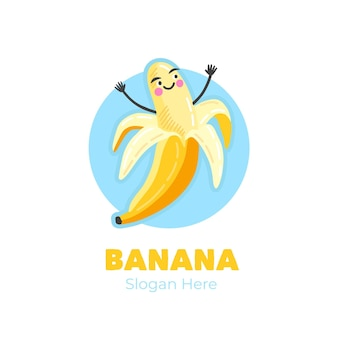 Logo de personnage de banane victorieux