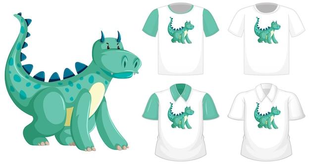 Logo de personnage de dessin animé de dragon sur une chemise blanche différente à manches courtes vertes isolé sur fond blanc