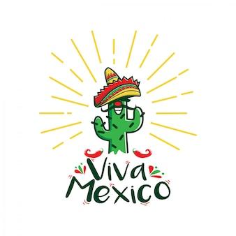 Logo de personnage de dessin animé viva mexico
