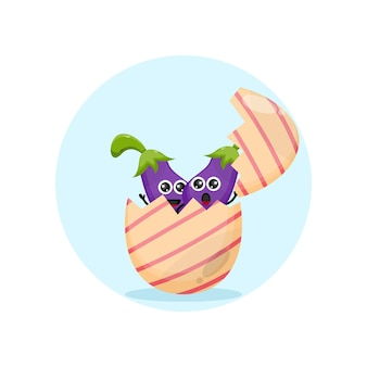 Logo de personnage de mascotte aubergine aubergine de pâques