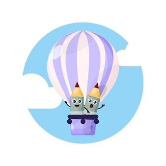 Logo de personnage mascotte ballon à air chaud crayon