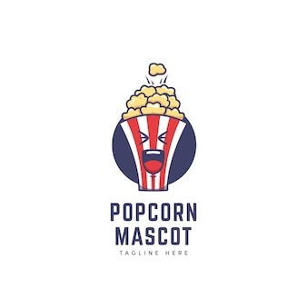 Logo de personnage de mascotte de boîte de pop-corn dans le style d'illustration d'icône de dessin animé