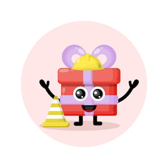 Logo de personnage mascotte cadeau cône de signalisation