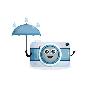 Logo de personnage de mascotte caméra parapluie