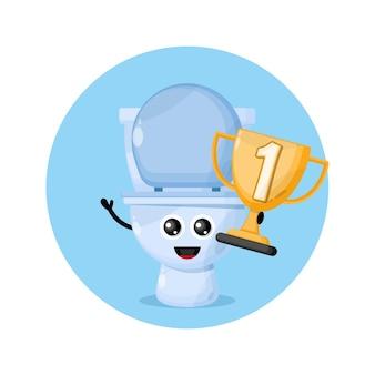 Logo de personnage de mascotte de coupe des champions de toilettes