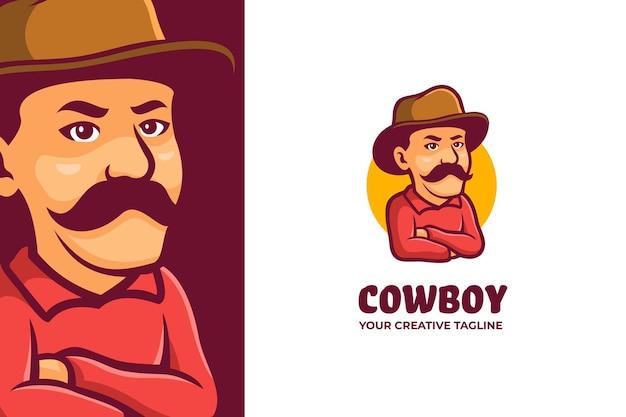 Logo de personnage mascotte cow-boy mexicain