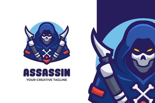 Logo de personnage de mascotte de crâne d'assassin