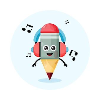 Logo de personnage de mascotte de crayon de casque de musique