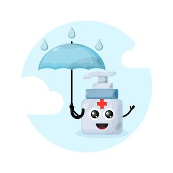 Logo de personnage de mascotte désinfectant pour les mains parapluie de pluie