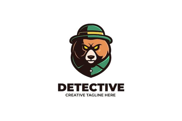 Logo de personnage mascotte détective gopher