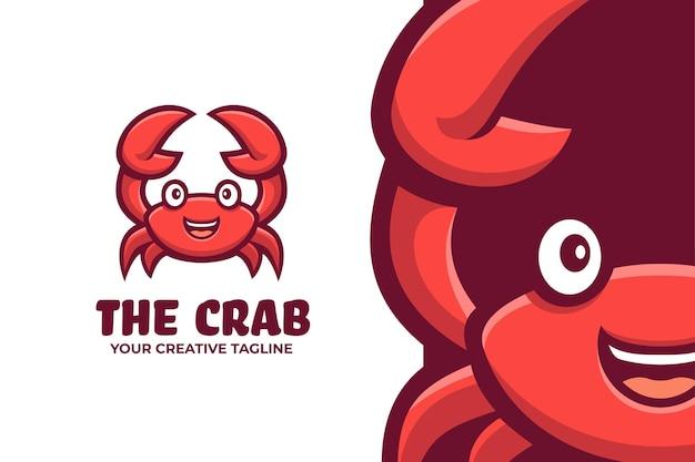Logo de personnage de mascotte de fruits de mer de crabe