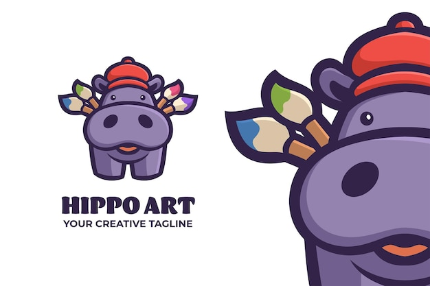 Logo de personnage mascotte hippopotame mignon