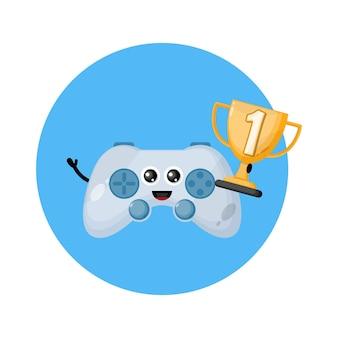 Logo de personnage de mascotte de jeu de contrôleur de champion de trophée