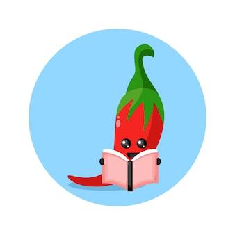Logo de personnage de mascotte de livre de lecture de piment