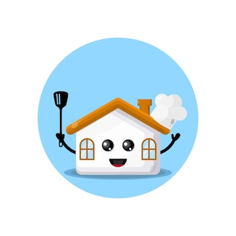 Logo de personnage de mascotte de maison de chefs