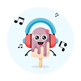 Logo de personnage de mascotte de musique de casque de crème glacée