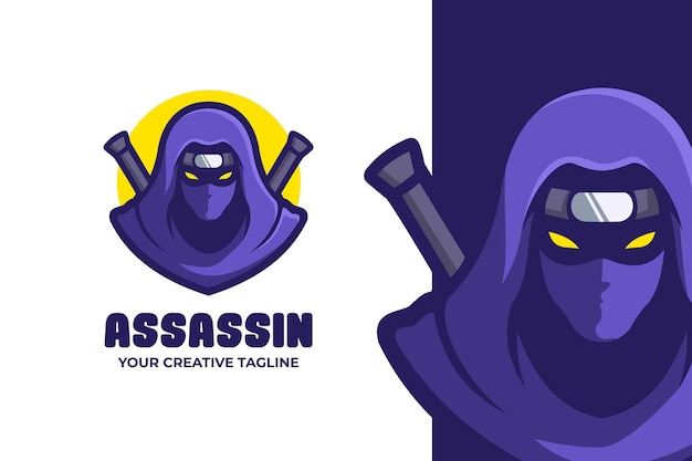 Logo de personnage mascotte ninja assassin