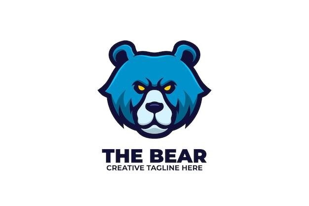 Logo de personnage mascotte ours bleu
