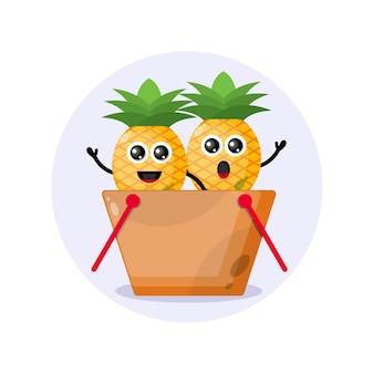 Logo de personnage de mascotte de panier à provisions ananas