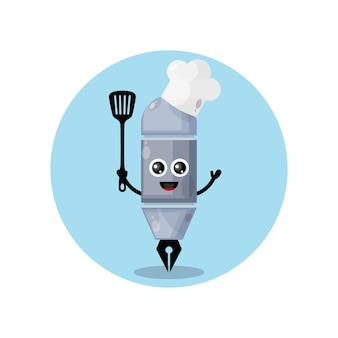 Logo de personnage de mascotte pen chef