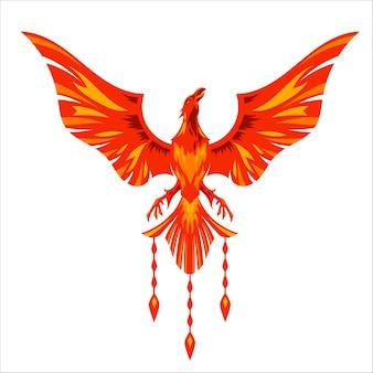 Logo de personnage de mascotte phoenix rouge avec illustration d'effet de feu