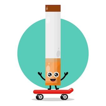 Logo de personnage de mascotte de planche à roulettes de cigarette