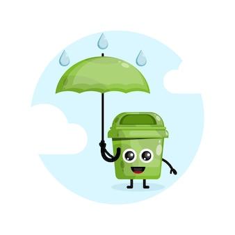 Logo de personnage de mascotte pluie parapluie corbeille