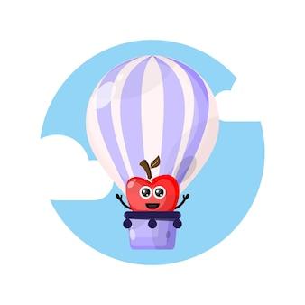 Logo de personnage de mascotte pomme ballon à air chaud