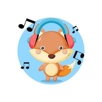 Logo de personnage de mascotte de renard de musique