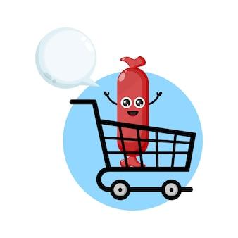 Logo de personnage de mascotte de saucisse de chariot à provisions