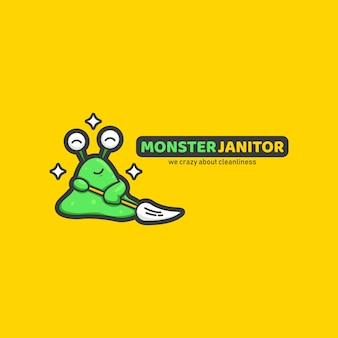 Logo de personnage de mascotte de service de nettoyage de conciergerie